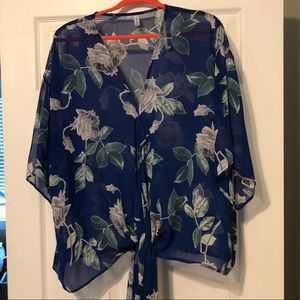 Blue and White Floral Top with Tie bottom